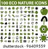 100 eco nature icons set, vector - stock photo