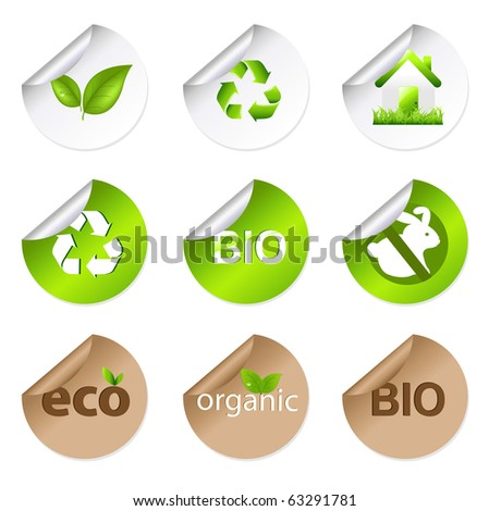 9 Eco Stickers, Isolated On White Background, Vector Illustration - stock vector