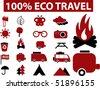 100% eco travel signs. vector - stock vector