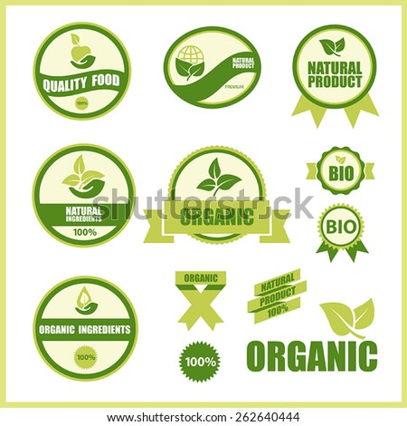 12 ecological green vector labels with environmental icons and inscriptions
