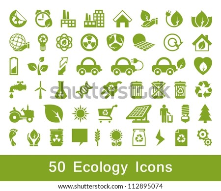 50 Ecology and recycle icons, vector set, set 2 - stock vector