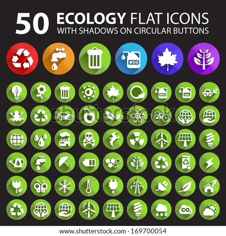 50 Ecology Flat Icons with Shadows on Circular Buttons.  - stock vector
