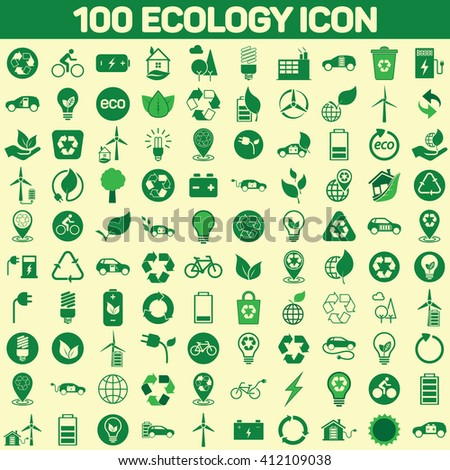 100 ecology icon set on color background, ecology icon set, recycle icon set, green icons set, 100 eco icon, 100 green icon set on color background, recycle flat icon vector, ecology flat icon logo - stock vector