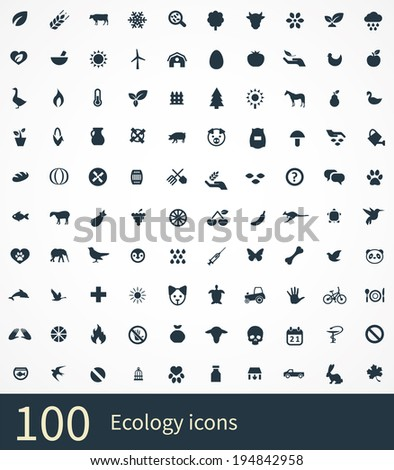 100 ecology icons - stock vector