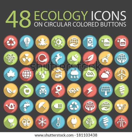 48 Ecology Icons on Circular Colored Buttons. - stock vector