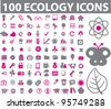 100 ecology icons set, vector - stock vector