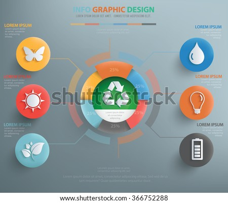 Ecology info graphic design, clean vector - stock vector
