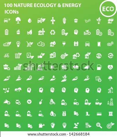 100 Ecology, Nature & Energy icons,vector - stock vector