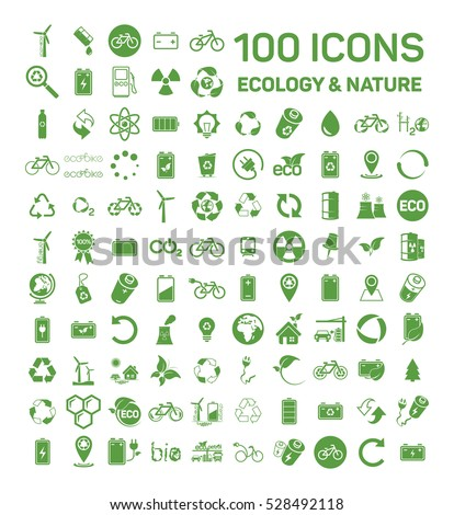 100 ecology & nature green icons set on white background. Vector illustration of Eco, natural, bio