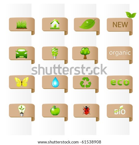 16 Ecology Signs, Isolated On White Background, Vector Illustration - stock vector