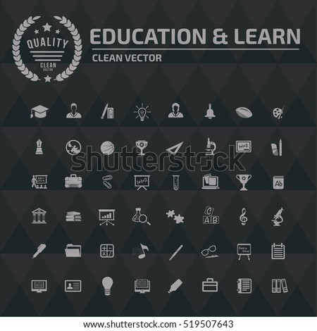 Education and learning icon set, clean vector