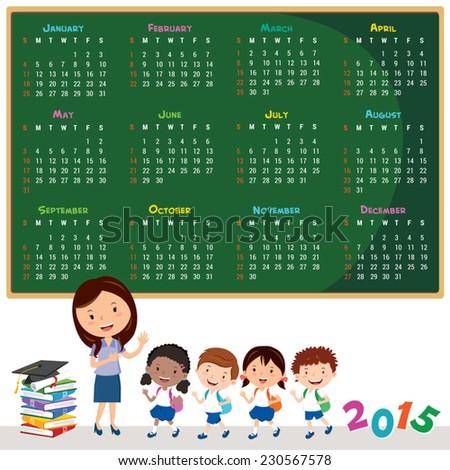 2015 Education calendar. Vector illustration of a cheerful teacher with school kids. - stock vector