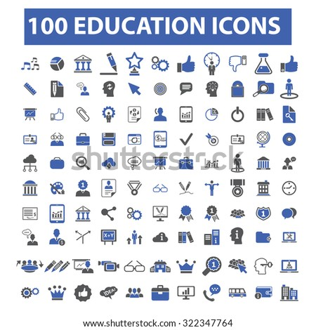 100 education icons - stock vector