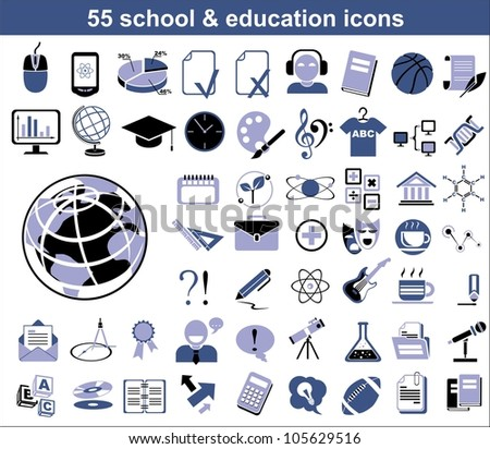 55 education icons in blue and black colors