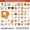 55 education icons in orange and black colors - stock vector