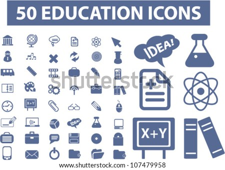 50 education icons set, vector - stock vector