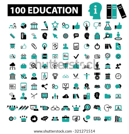 100 education, information icons - stock vector