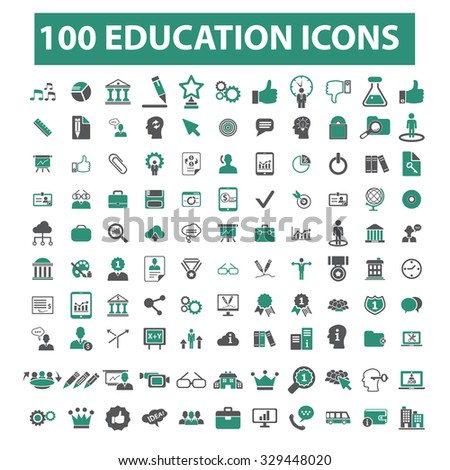 100 education, learning, study, science, research, school icons - stock vector