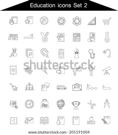 Education line icon set 2