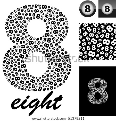 """Eight"". Great vector set for design. - stock vector"