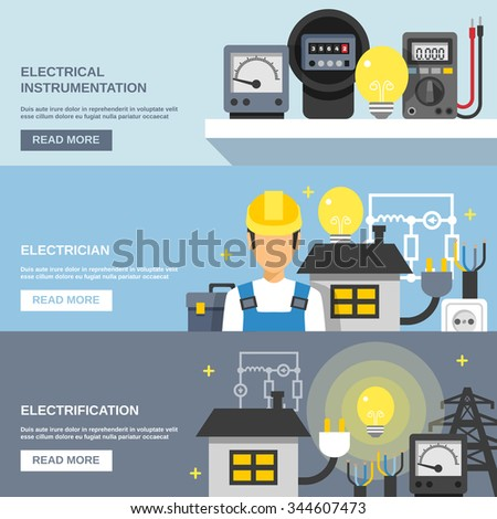 Electricity Horizontal Banners Set Electrical Instrumentation Stock