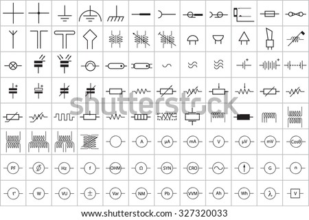 96 Electronic Electric Symbol Vector Vol 1 Stock Vector 327320033 ...