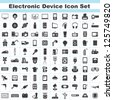 100 electronic device and household icon set - stock vector