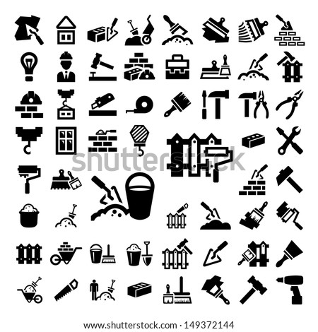 58 Elegant Construction And Repair Icons Set Created For Mobile, Web And Applications. - stock vector