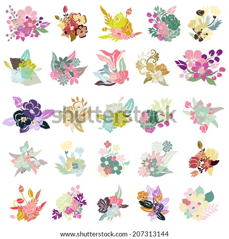 25 elegant floral bouquets, design elements. Floral compositions can be used for wedding, baby shower, mothers day, valentines day cards, invitations. Vintage decorative flowers. - stock vector