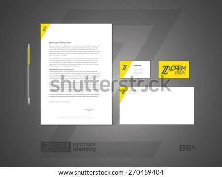 Elegant minimal style corporate identity template with logo. Typographic symbol. Letter envelope and business card design. Vector illustration. - stock vector