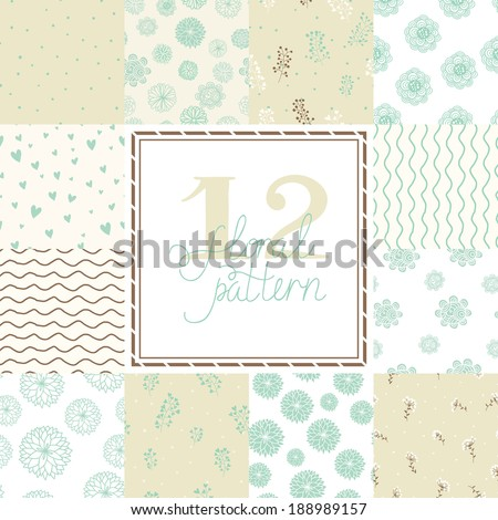 12 Elegant romantic vector seamless patterns (tiling). Seamless floral patterns. Flowers texture. Texture can be used for printing onto fabric and paper or scrap booking.