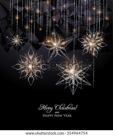 Elegant Snowflake decoration,Christmas lights Background - stock vector