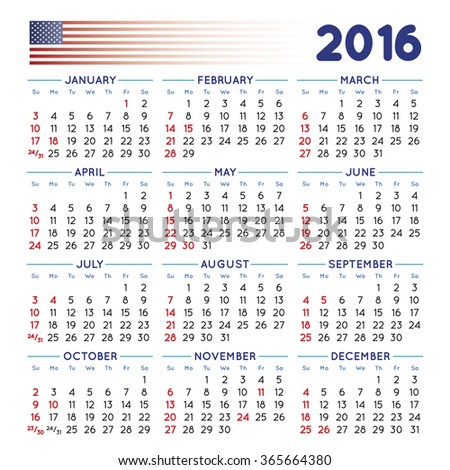 2016 elegant squared calendar. With USA festive days. File easy to edit and apply. Year 2016 calendar. Calendar 2016