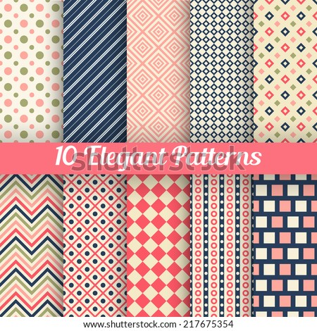 10 Elegant vector seamless patterns. Retro blue, pink, red and white colors. Endless texture can be used for printing onto fabric and paper, scrap booking. Set of abstract pretty chic background - stock vector