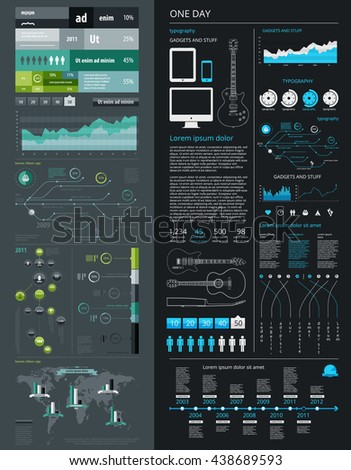 elements of infographics with a map