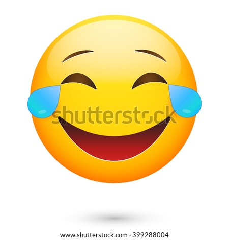 Emoticon laugh. Isolated vector illustration on white background - stock vector