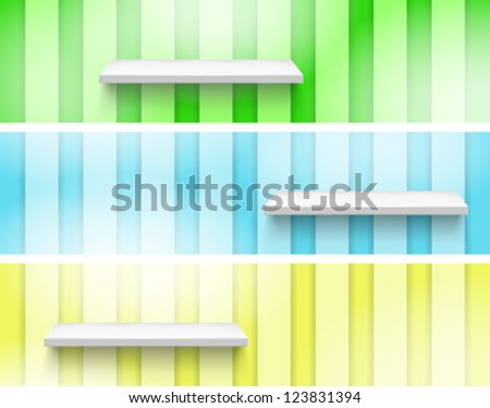 Empty Shelf on the Wall.  Three color. Fully editable EPS 10 file. - stock vector