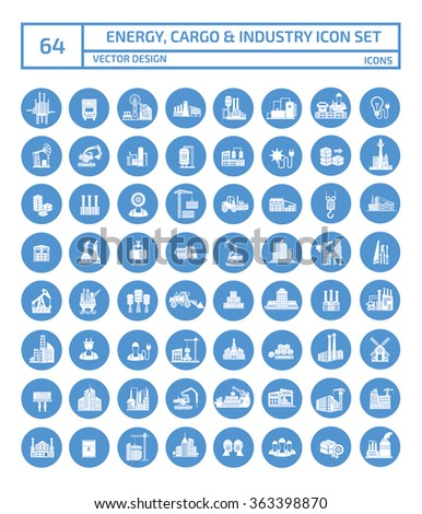 64 Energy,cargo,shipping and industry icon set,clean vector - stock vector