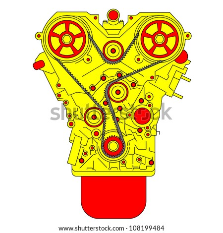 engine, as seen from in front. Vector illustration. - stock vector