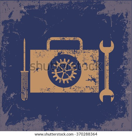 Engineer tools design on old paper background, vector