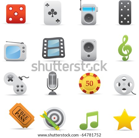 03 Entertainment Icons Professional vector set for your website, application, or presentation. The graphics can easily be edited color individually and be scaled to any size - stock vector