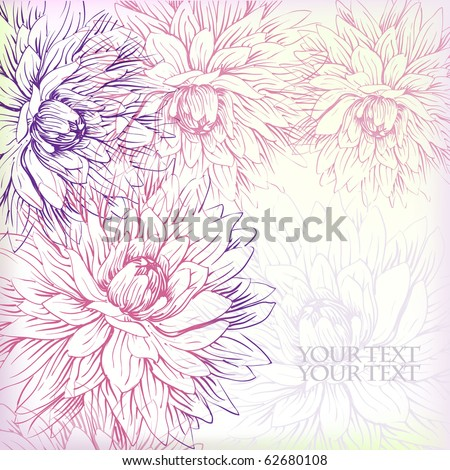 eps10 background with gentle hand-drawn chrysanthemums - stock vector