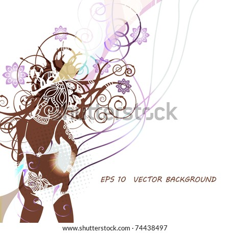 eps10 background with tanned   girl in bikini dancing on the beach - stock vector