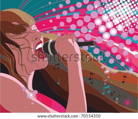 10 EPS, Young woman singing - stock vector