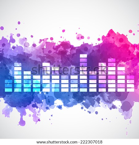 Equalizer with a watercolor background  - stock vector