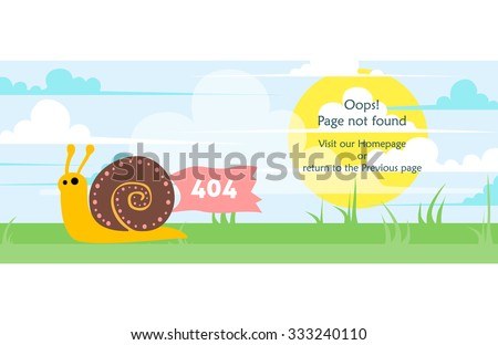 404 error page vector template for website. Bright day landscape with snail crawling on grass holding a red banner. Blue sky, white curly clouds, yellow sun. Text warning message 404 page not found. - stock vector