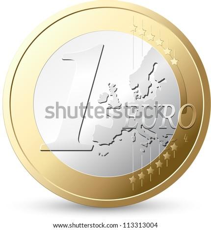 1 Euro - European currency - stock vector