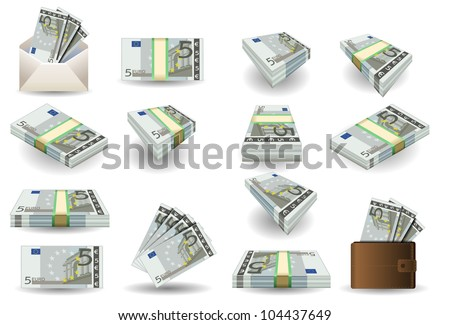5 Euro Finance Banknotes full set of five euro banknotes. Isometric Money Portfolio Collection Market Business Vector 3d Set