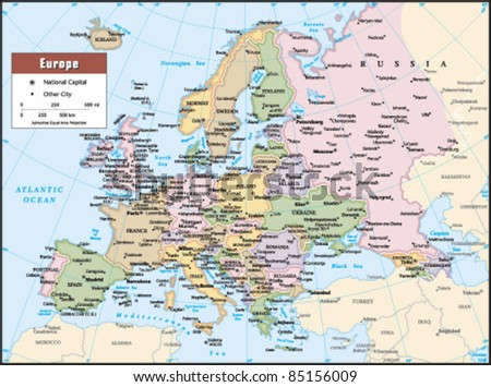 2012 Europe Political Continent Map - stock vector