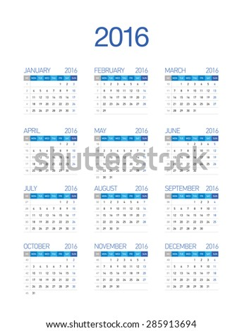 2016 European Calendar - stock vector